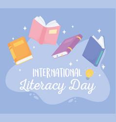 international literacy day textbooks literature vector image