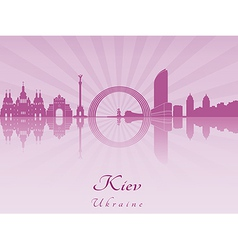 Kiev skyline in purple radiant orchid vector image