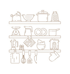 Kitchen shelves cooking items pots spoon fork vector