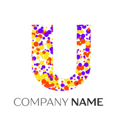 Letter u logo with purple yellow red particles vector