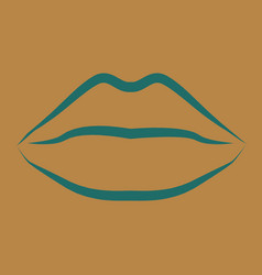 Lips kiss patch sticker isolated on color vector