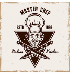 master chef head and knives cooking emblem vector image