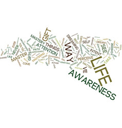 Mastery of awareness text background word cloud vector