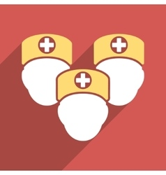 Medical Staff Flat Square Icon with Long Shadow vector