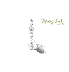 money back concept hand drawn isolated vector image