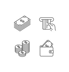 Money cash and wallet line icons coins vector