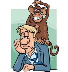 Monkey on your back cartoon vector