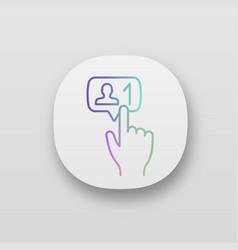 New follower button click app icons set vector