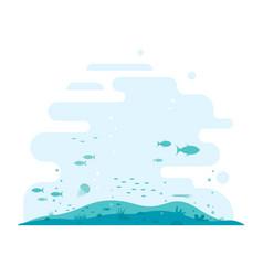 Ocean bottom flat background vector