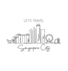 one single line drawing singapore city skyline vector image