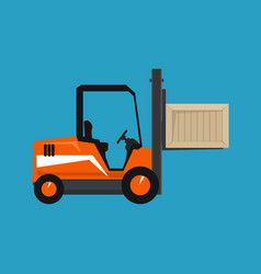 orange vehicle forklift picks up a box isolated vector image