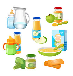Organic food for babies poster juices vector