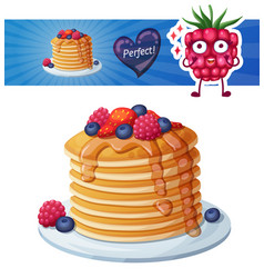 Pancakes with berries and honey icon cartoon vector