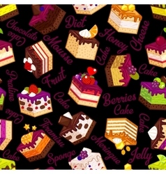 Pattern with cakes on black vector