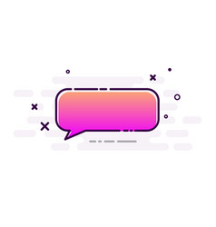 Pink gradient speech bubble on white background vector