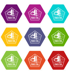 power instrument icons set 9 vector image