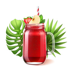 Realistic smoothie glass jar watermelon vector