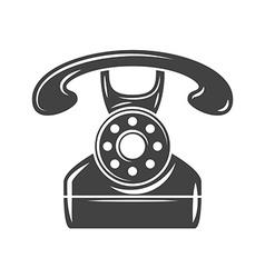 Retro phone Black icon logo element flat isolated vector image