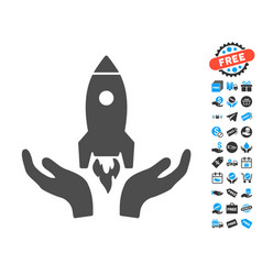 Rocket startup flat icon with free bonus elements vector