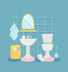 sanitary room with sink toilette towels vector image