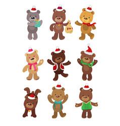 set cute christmas bears vector image