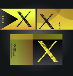 Set of neon yellow and black business cards with vector