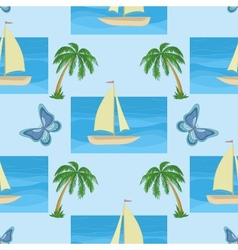 ship palms and butterflies vector image