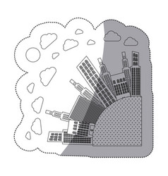 silhouette round city with builds and clouds vector image