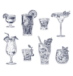 Sketch cocktails alcoholic drinks cocktails vector