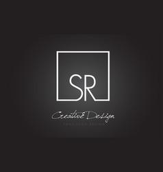 sr square frame letter logo design with black and vector image