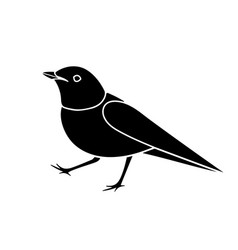 stylized nightingale bird silhouette isolated on vector image