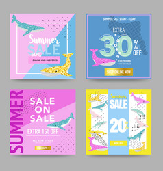 Summer sale banners with cute whales promotional vector