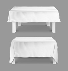 table with tablecloth set empty vector image