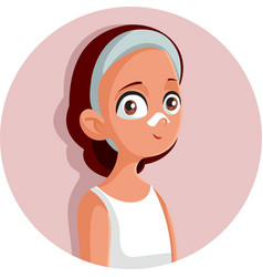 Teen girl removing blackheads with nose patch vector