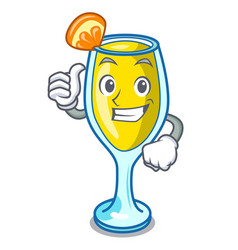 thumbs up mimosa character cartoon style vector image