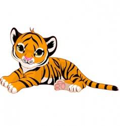 tiger cub resting vector image vector image