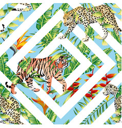 Tiger leopard seamless tropical leaves vector