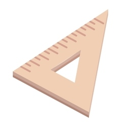 Triangle wooden ruler icon cartoon style vector