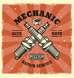 two crossed engine candles or spark plugs emblem vector image
