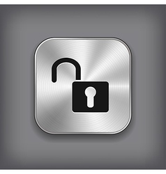 Unlock icon - metal app button vector image