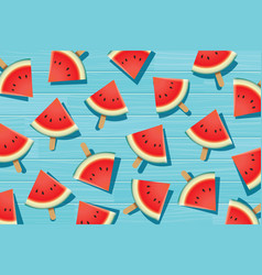 watermelon slice on blue wooden summer time vector image