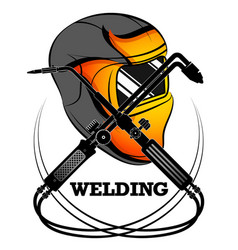 welder mask and welding machine vector image
