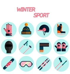 Winter sport flat icon set vector image