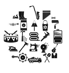 working gear icons set simple style vector image
