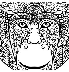 Zentagle monkey head with ethnic motifs vector