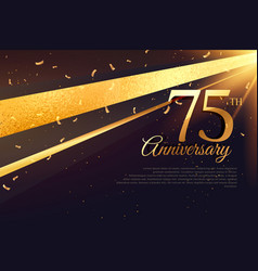75th anniversary celebration card template vector image