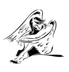 beautiful woman angel in sitting posture vector image