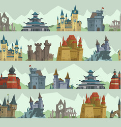 cartoon fairy tale castle key-stone palace tower vector image