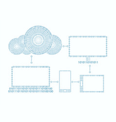 computer cloud phone laptop drawn out numbers vector image vector image
