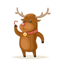 Deer Character Christmas New Year Isolated Icon vector image